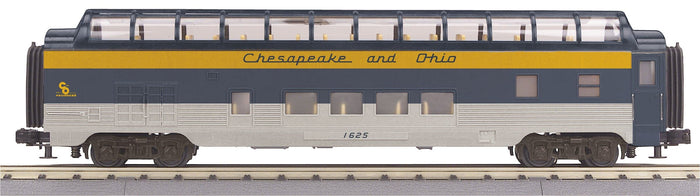 MTH 30-68175 Chesapeake & Ohio  60' Streamlined Full-Length Vista Dome Car