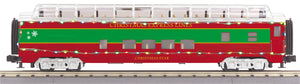 "MTH 30-68203 - 60' Streamlined Full-Length Vista Dome Car ""Christmas"" w/ LED Lights"