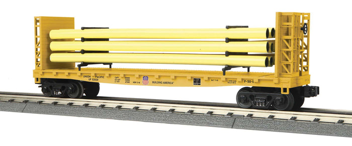 "MTH 30-76803 - Flat Car ""Union Pacific"" w/ Bulkheads & Pipe Load"