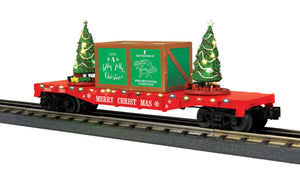 "MTH 30-76821 - Flat Car ""Christmas"" w/ Lighted Christmas Trees (Red)"