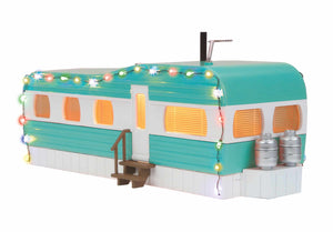 MTH 30-90612 - Stainless Mobile Home w/ LED Christmas Lights (Turquoise & White)