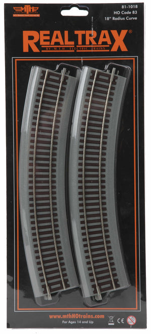 "MTH 81-1018 - HO RealTrax 18"" Radius Curve Code 83 Track w/ Roadbed (4-Pack)"