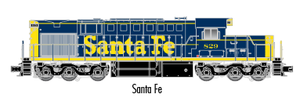 "Atlas O 20040028 - Trainman - DC - RSD-7/15 Locomotive ""Santa Fe"" #829 - 2 Rail"