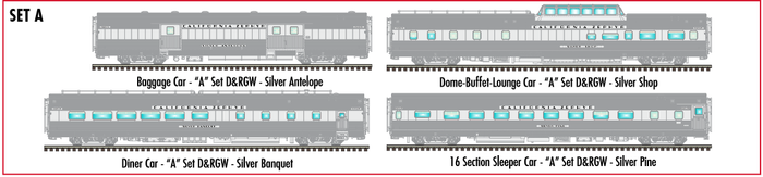 "Atlas O 3007018A - California Zephyr ""A"" D&RGW - Commemorative Edition (4-Car)"