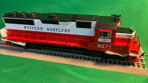 "MTH 20-21207-1 - GP-40 Diesel Engine ""Western Maryland"" #6573 w/ PS3 (Hi-Rail Wheels)"