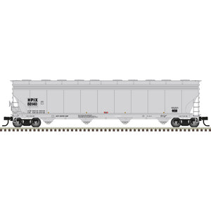 Atlas HO 20006025 -  ACF® 5800 Plastics Hopper Car - Himont USA (HPIX) 88128 (Gray/Black)