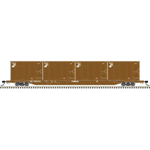 Atlas HO 20006098 - 85' Trash Flat Car With MSW Containers - Conrail† 798000 (Brown/White)