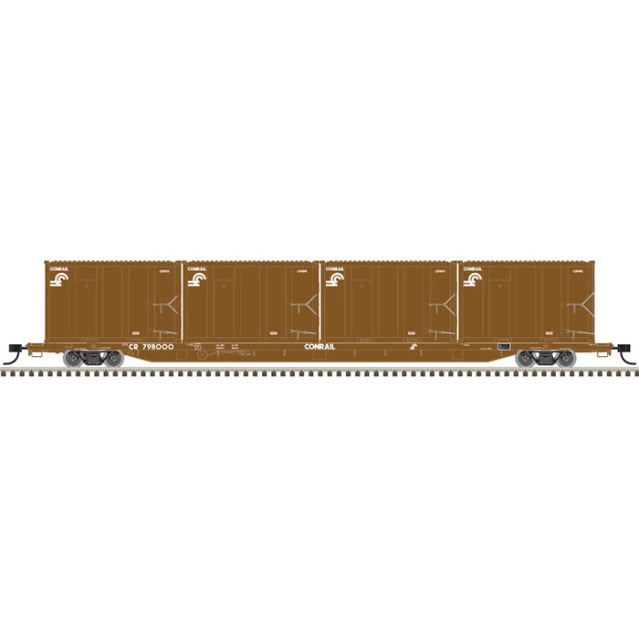 Atlas HO 20006036 - 85' Trash Flat Car With MSW Containers - Conrail† 798199 (Brown/White)