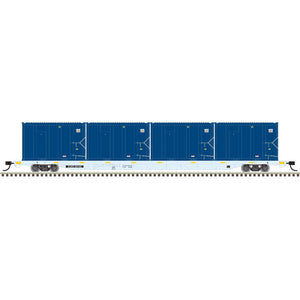 Atlas HO 20006039 - 85' Trash Flat Car With MSW Containers - Covanta 60233 (Gray/Yellow)