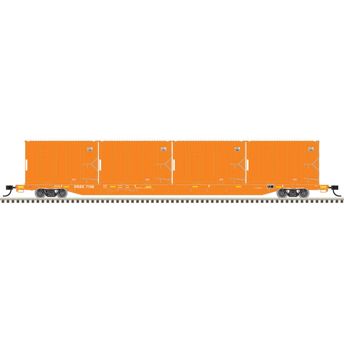 Atlas HO 20006040 - 85' Trash Flat Car With MSW Containers - East Coast Carbon (DSEX) 7086 (Orange/ White)