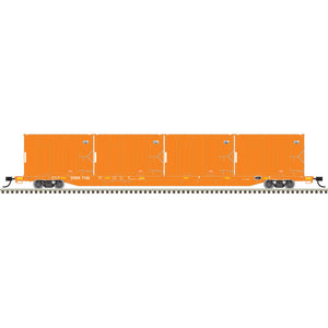 Atlas HO 20006041 - 85' Trash Flat Car With MSW Containers - East Coast Carbon (DSEX) 7148 (Orange/ White)