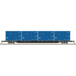 Atlas HO 20006045 - 85' Trash Flat Car With MSW Containers - GIMX 638148 (Black/White)