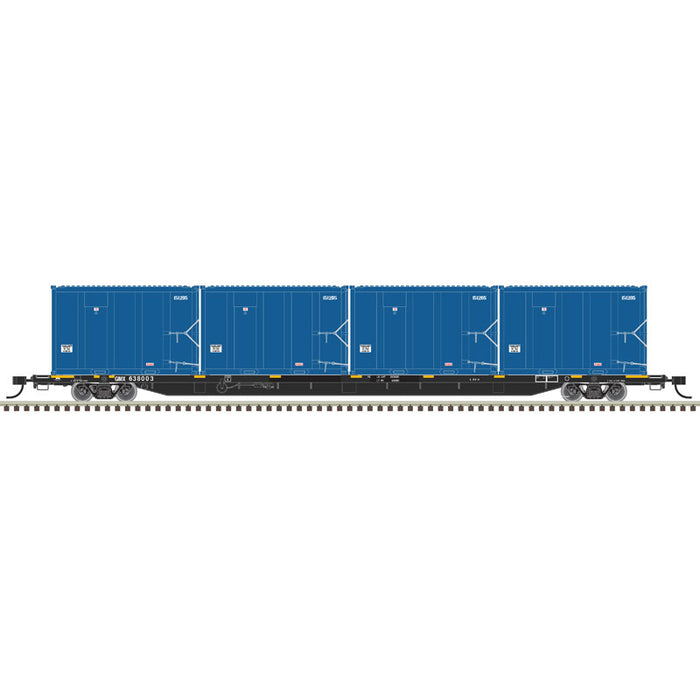Atlas HO 20006043 - 85' Trash Flat Car With MSW Containers - GIMX 638126 (Black/White)