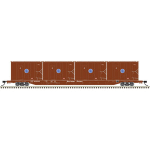 Atlas HO 20006049 - 85' Trash Flat Car With MSW Containers - Southern Pacific† 905000 (Brown/White)