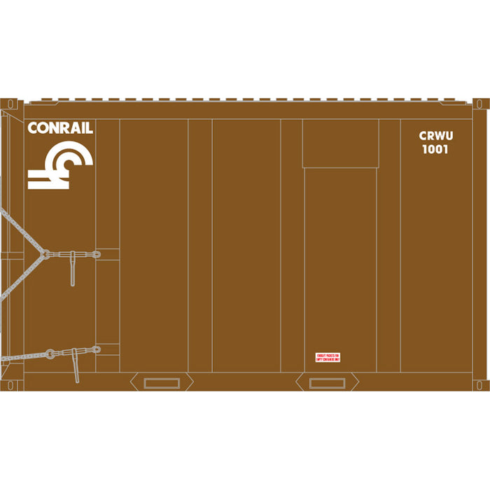Atlas HO 20006053 - High-Cube MSW Container - Conrail† 1001, 1012, 1033, 1054 (Brown/White) Set #1