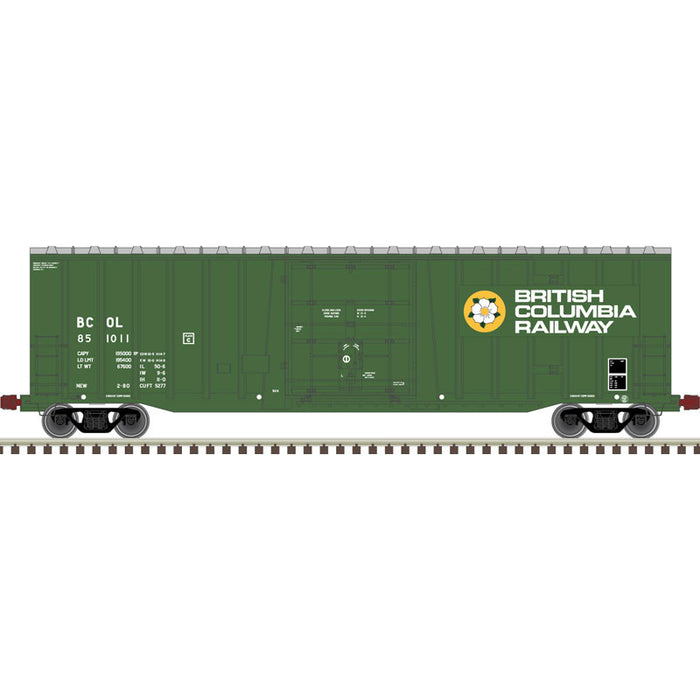 Atlas HO 20006076 -  NSC 5277 50' Plug Door Box Car - British Columbia Railway 851012 (Green/White/Yellow)