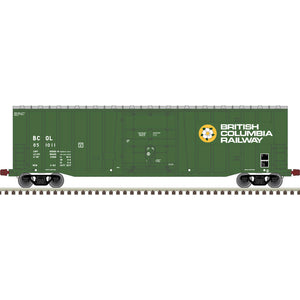 Atlas HO 20006077 -  NSC 5277 50' Plug Door Box Car - British Columbia Railway 851022 (Green/White/Yellow)