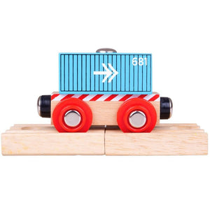 BigJigs BJT486 - Container Wagon (Blue)