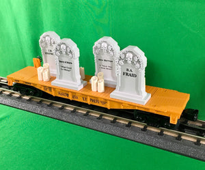 "MTH 30-76785 - Flat Car ""Halloween"" w/ Headstones & Flickering Lighted Candles"