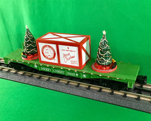 "MTH 30-76773 - Flat Car ""Christmas"" w/ Lighted Christmas Trees - Green"