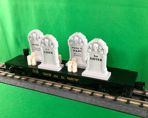 "MTH 30-76784 - Flat Car ""Halloween"" w/ Headstones & Flickering Lighted Candles"