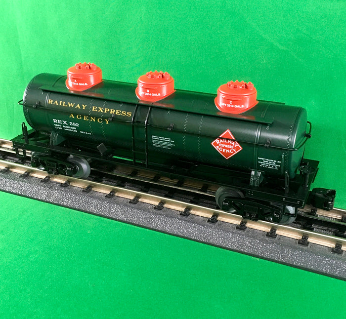 "MTH 30-73490 - 3-Dome Tank Car ""Railway Express Agency"""