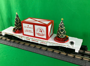 "MTH 30-76734 - Flat Car ""Christmas"" w/ Lighted Christmas Trees (White)"