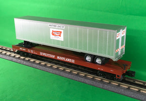 "MTH 20-95159 - Flat Car ""Western Maryland"" w/ 48' Trailer"