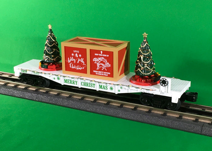 "MTH 30-76823 - Flat Car ""Christmas"" w/ Lighted Christmas Trees (White)"