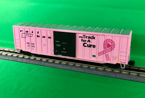 "Atlas O 2001048E - Trainman - 50'6"" Box Car Railbox ""On Track for a Cure"" - 2nd Run 2019"