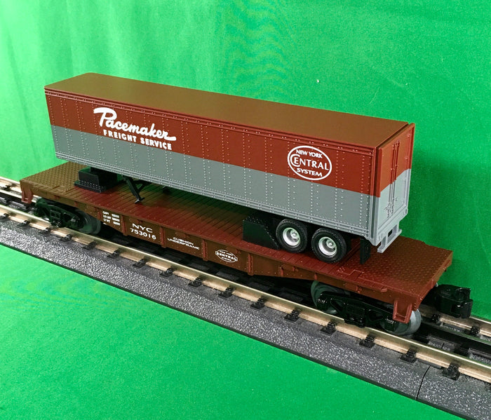"MTH 30-76662 - Flat Car ""New York Central"" w/ 40' Trailer"