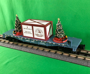 "MTH 30-76736 - Flat Car ""North Pole"" w/ Lighted Christmas Trees (Blue)"