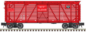 "Atlas O 2002456 - Trainman - 40' Stock Cars ""Chicago, Burlington & Quincy"" - 2 Rail"