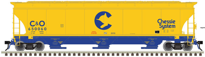 "Atlas O 3002135 - Trinity 5161 cu. ft. Covered Hoppers ""Chessie System"" - 2 Rail"