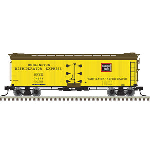 "Atlas O 3002573 - 40' Re-Built Wood Reefer Car ""Burlington"" - 2 Rail - 11/2020 Announcement"