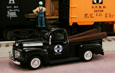 "1948 Ford F1 Pickup ""Santa Fe Railway M.O.W. Dept."" (Black) 1/43 Diecast Car by Railyard Truck Series"
