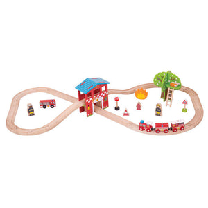 BigJigs BJT037 - Fire Station Train Set