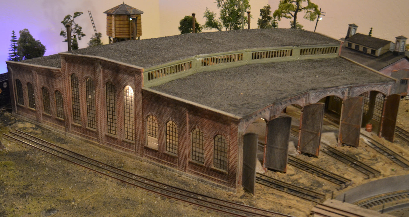 Korber Models #304 - O Scale - 3 Stall Roundhouse Kit on railroad shops, on30 track plans, walthers track plans, 4x8 ho track plans, railroad roundhouses chicago, railroad yards in chicago, railroad structure plans, lionel train track layout plans, o gauge turntable plans, railroad water tower plans, railroad roundhouses missouri, railroad engine shed plans, ho scale turntable plans, railroad yard design, railroad turntable, railroad stations, railroad tracks, railroad roundhouses in ohio,