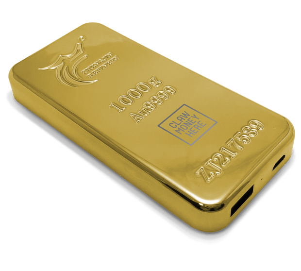 ClawMoneyHere Gold Bar Power Bank