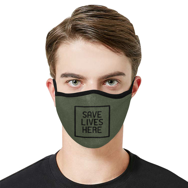 PMH Save Lives Here Face Mask Army Green (2 Carbon Filters Included)