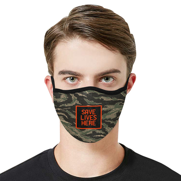 PMH Save Lives Here Face Mask Tiger Camo Print (2 Carbon Filters Included) - Place Money Here