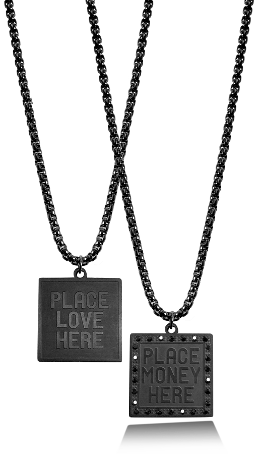 PMH MONEY AND LOVE BLACK RHODIUM CHAIN - Place Money Here