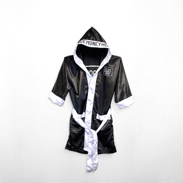 PlaceMoneyHere™ Satin Boxing Robe Black and White - Place Money Here