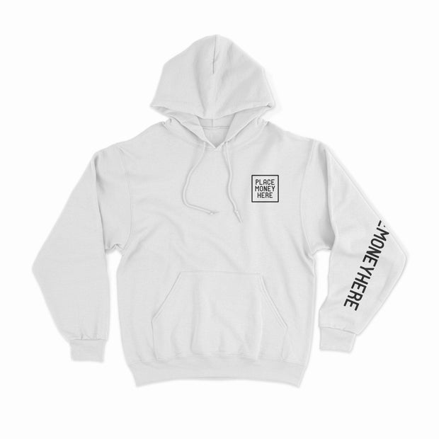 PMH White Brand Hoodie - Place Money Here