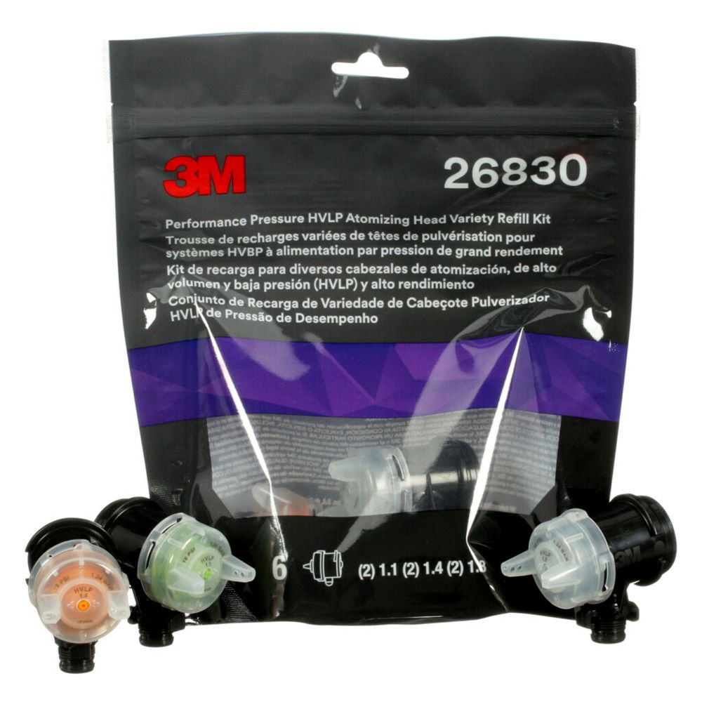 3M™ Performance Pressure HVLP Atomizing Head Refill Kit – Variety 6 Pack (26830)