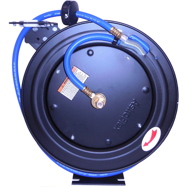 "Automatic Rewind Air Hose Reel (50' of 3/8"" Flexible Hybrid Hose)"