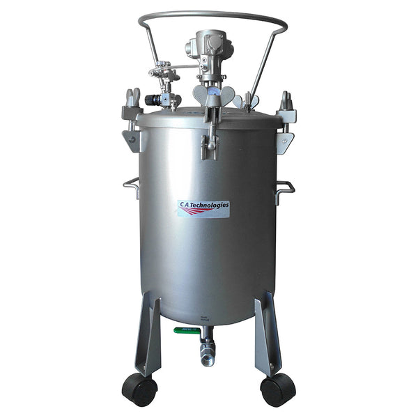 C.A. Technologies 12.5 Gallon Stainless Steel Paint Pressure Tank – Bottom Outlet with Pneumatic Agitation (mixer)