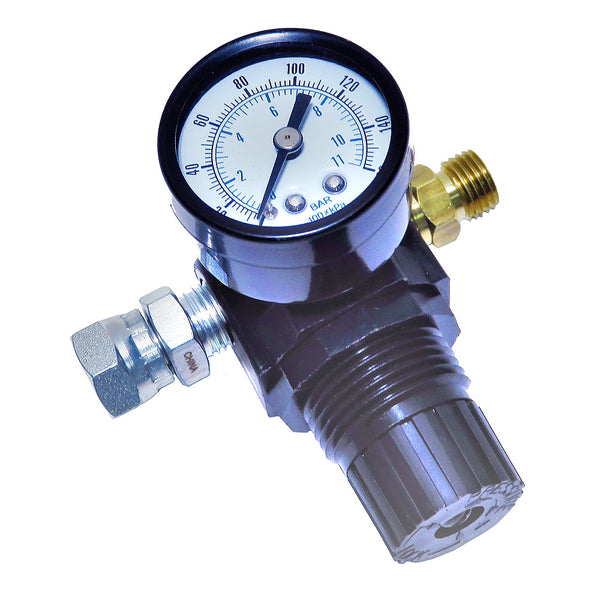 Diaphragm Air Regulator & Gauge (Glass) for Conventional Air Spray or HVLP Spray Guns (0-125 psi)