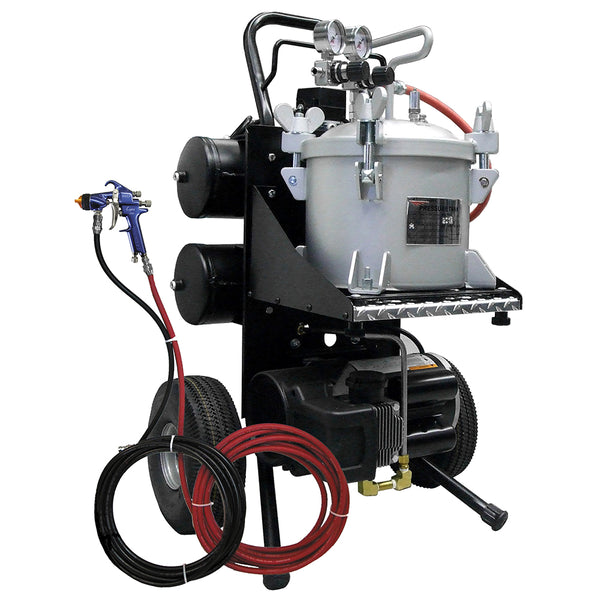 C.A. Technologies Black CAT Portable HVLP Disinfectant Spray System – 2.5 Gallon Pressure Tank & Lynx HVLP Spray Gun Cart Set-up with 2 HP Oil-less Compressor