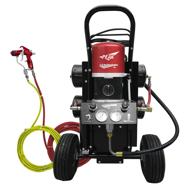 C.A. Technologies Air-Assist-Airless (AAA) 14:1 Bobcat Peak Performance Pump Cart Set-up with Oil-less Compressor